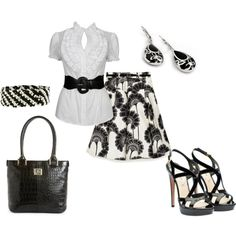 """Black & White"" feminine work outfit    by jklmnodavis on Polyvore"
