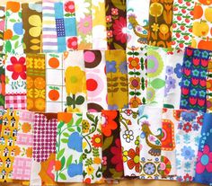 36 patchwork vintage 60s 70s fabric squares for mini quilt from Jane Foster Dekoplus, Scandi fabric, flower power, birds, Habitat etc..