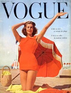 Fiona Campbell-Walter in bathing suit by Jean Patou, French Vogue Jun.1955, cover by Sabine Weiss