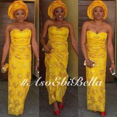 Yellow Lace Dress & Yellow Gele ~African fashion, Ankara, kitenge, African women dresses, African prints, Braids, Nigerian wedding, Ghanaian fashion, African wedding ~DKK