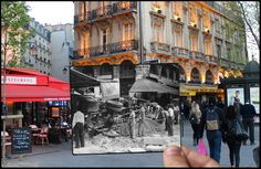 Ths barricade in Place Saint-Michel was where the Gibert Jeune book shop is today. | The Liberation Of Paris, Then And Now: 24 Haunting Images That Blend The Past And Present