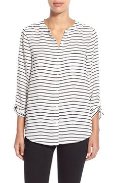Halogen® Print Roll Sleeve Tie Front Blouse (Regular & Petite) available at #Nordstrom