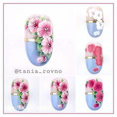 Zdjęcie Rose Nail Art, Floral Nail Art, Rose Nails, Flower Nails, Flower Nail Designs, Nail Designs Spring, Acrylic Nail Designs, Nail Art Designs, Spring Nails