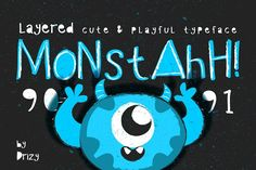 Monstahh Layered Typeface by Drizy on @creativemarket
