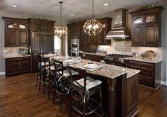 Modern Walnut Kitchen Cabinets Design Ideas – decoratoo – Home Renovation Walnut Kitchen Cabinets, Brown Cabinets, Wood Cabinets, Kitchens With Dark Cabinets, Espresso Cabinets, Brown Kitchens, Best Kitchen Design, Kitchen Cabinet Design, Beautiful Kitchens