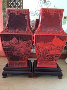 Pair Antique Carved Red Cinnabar Lacquer Fine Chinese Vases with Wooden Bases  - See Shipping information below !!