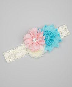 Blue & Pink Flower Headband