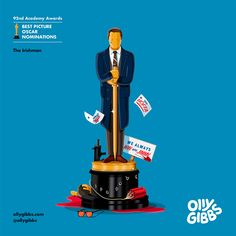 The Oscars is almost upon us, and it's time for one of our favourite pre-event activities: checking out Olly Gibbs' annual Oscars project. Best Picture Nominees, Empire Design, Art Editor, How To Cure Anxiety, Martin Scorsese, Irish Men, Lights Background, French Artists, Character Illustration