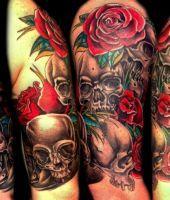 czaszki róże tatuaże wzory