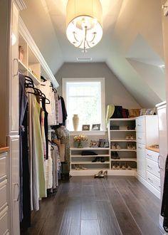 sloped closet organization idea