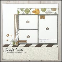 Fall is one of my favorite seasons, the colors are stunning and it is just plain beautiful. I feel that this paper from Close to my Heart. Scrapbook Sketches, Scrapbook Page Layouts, Card Sketches, Scrapbook Cards, Photo Layouts, Wedding Scrapbook, Scrapbook Generation, Recipe Scrapbook, Fall For You