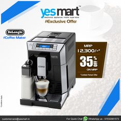 Have a #Coffee & everything is going to be ok! Make your coffee more tasty with #DeLonghi #Coffee Maker available #YesMart . Buy this product for an exclusive offer @YesMart Today before the offer ends. For more info Visit - www.yesmart.in