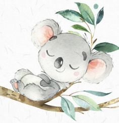 Discover recipes, home ideas, style inspiration and other ideas to try. Cute Animal Drawings, Cute Drawings, Watercolor Animals, Watercolor Art, Koala Illustration, Baby Painting, Nursery Art, Cute Wallpapers, Koalas
