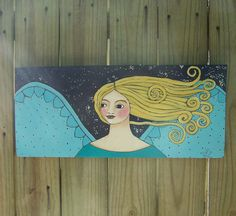 SALE  Folk Art Angel Painting Original One of a Kind by Debidoodah, $145.00