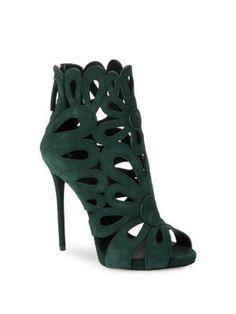 GIUSEPPE ZANOTTI Clover Suede Cuttout Heels. #giuseppezanotti #shoes #heels #giuseppezanottiheelspumps #giuseppezanottiheelssandals