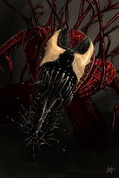 Fan art of carnage Comic Villains, Comic Book Characters, Marvel Characters, Comic Character, Comic Books Art, Comic Art, Marvel Venom, Marvel Vs, Marvel Dc Comics