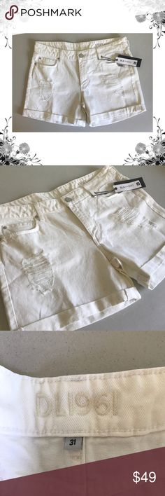 🆕{DL1961} Karlie Destroyed White Denim Shorts ✨Measurements coming soon!  ✨Manufacturer Color is Polar.   ✨New with tags.  ✨Boyfriend fit. Button-Zip Fly closure. Flat Front. Back Patch Pockets. Destroyed.  ✨100% Cotton. Denim fabric.   ✨Bundle for discounts! Thank you for shopping my closet!  B2 DL1961 Shorts Jean Shorts