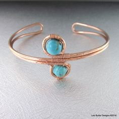 Adjustable Copper Turquoise Wire Wrap Bangle