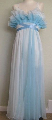 Vanity Fair 1960s Era Full Length Nightgown with Bustline Ruffles