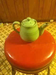 Pastel light green gold trimmed teapot vintage by LostInspiration on Etsy