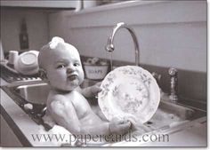 We can clean the baby and the dishes at the same time?!