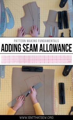 If you are making your own pattern pieces or wish to alter an existing pattern.Then being able to add, remove, or adjust the seam allowance is an important skill to have!Awesome 15 Sewing projects are available on our Free Sewing Patterns with Bun Sewing Basics, Sewing Hacks, Sewing Tutorials, Sewing Crafts, Sewing Tips, Pattern Drafting Tutorials, Dress Tutorials, Diy Crafts, Bag Sewing