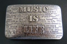 MUSIC IS LIFE MUSICAL QUOTES ANTIQUE NICKEL BELT BUCKLE BUCKLES