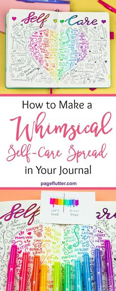 How to Add a Whimsical Self-Care Spread to Your Journal Make this fun and easy rainbow self-care spread to inspire your journaling Self Care Bullet Journal, Bullet Journal Hacks, Bullet Journal How To Start A, Bullet Journal Layout, My Journal, Journal Prompts, Bullet Journal Inspiration, Journal Pages, Bullet Journals