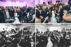 Guests dancing during a wedding reception at the Seaport Hotel and World Trade Center in Boston, MA. Captured by NYC wedding photographer Ben Lau.