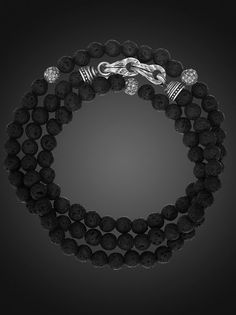 Triple Wrap Black Lava Bead Bracelet with Sterling Silver Clasp