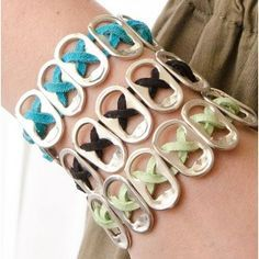 Keep Your Old Jewelry Looking Like New Pop Top Bracelets ~ via GreenCraft Magazine Winter Top Bracelets ~ via GreenCraft Magazine Winter 2014 Soda Tab Crafts, Can Tab Crafts, Bottle Cap Crafts, Arts And Crafts, Tape Crafts, Old Jewelry, Jewelry Crafts, Jewelry Making, Pop Tab Bracelet