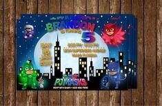 42 Convites PJ Masks com o Menino Gato, Lagartixo e Corujita! – Modelos de Convite Festa Pj Masks, Mask Party, 3rd Birthday, Ladybug, Invitations, Etsy, Frame, Handmade Gifts, David