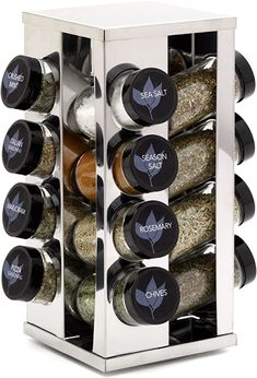 Amazon.com: Kamenstein Heritage 16-Jar Revolving Countertop Spice Rack Organizer with Free Spice Refills for 5 Years: Kitchen & Dining Spice Rack On Pantry Door, Spice Rack Organiser, Spice Organization, Glass Spice Jars, Glass Jars With Lids, Glass Bottles, Countertop Spice Rack, Revolving Spice Rack, Home