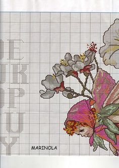 Cross stitch - fairies: Tulip and red clover fairy sampler - Cicely Mary Barker (chart- part A4)