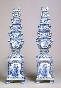 Tulip Vase (Tulipière) Maker: Adriaenus Koeks;  Manufacturer: De Grieksche A Factor, c. 1690 Tin-Glazed Earthenware