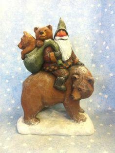 Hand Carved Santa Riding Bear w Cub Susan M Smith | eBay