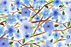 Margaret Berg Art: Blue+Blossoms+with+Branches+