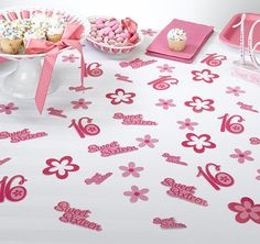 Decorate the Sweet Sixteen birthday party table with this colorful party confetti.