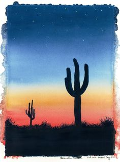 Cactus Sunset' Painted for my Dad, Father's Day 2010