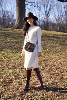 AudreyALaMode.com - Banana Republic Silk Skirt, Cashmere Sweater, Louis Vuitton Crossbody Purse, Salvatore Ferragamo Boots, Forever 21 Fedora