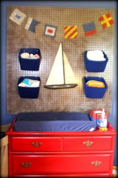 DIY peg board nursery organization - nautical