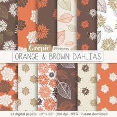 Flower digital paper: ORANGE & BROWN DAHLIAS clip