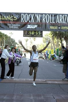 On January 15, 2006 Haile Gebrselassie of Ethiopia broke the half marathon world record at Rock 'n' Roll Arizona. His time was 58:55. #rocknrollmarathon