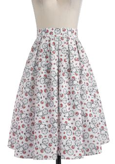 Wheel Meet Again Skirt - White, Green, Pink, Black, Novelty Print, A-line, Long, Casual, Spring, Quirky