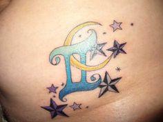 Gemini Tattoo, Moon and Stars - Free Tattoo Designs. I'm not a gemini, and I don't like the nautical looking stars, but still really pretty!