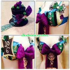 Mad Hatter Rave Bra and Mini Top Hat  Size by ElectronicCouture, $60.00