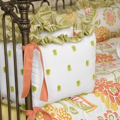 Lime Mimosa Crib Bumper with Ruffle | Carousel Designs