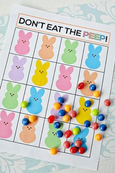 "Super fun ""Don't Eat the Peep"" Easter game. Print out and play with your family! from Thirty Handmade Days"