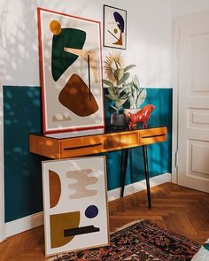 Abstract art and mid-century design - Bedroom nook with abstract artworks by Jan Skacelik. Bedroom Nook, Bedroom Decor, Design Bedroom, Bedroom Artwork, Decor Inspiration, Decor Ideas, Design Blog, Architectural Digest, Mid Century Design