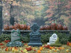 Tombstone Set #8  **by Skinny Bones Designs** Miniature Halloween Village Graveyard